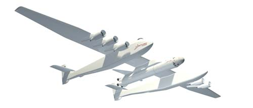 "In this artist's rendering provided by Stratolaunch Systems, a planned plane that would launch cargo and astronauts into space is seen. Microsoft co-founder Paul Allen and aerospace pioneer Burt Rutan are building the plane, in the latest of several ventures fueled by technology tycoons clamoring to write America's next chapter in spaceflight. Their plans, unveiled Tuesday, Dec. 13, 2011, in Seattle, call for a twin-fuselage aircraft with wings longer than a football field to carry a rocket high into the atmosphere and drop it, avoiding the need for a launch pad and the expense of additional rocket fuel. Allen, who teamed up with Rutan in 2004 to send the first privately financed, manned spacecraft into space, said his new project would ""keep America at the forefront of space exploration"" and give a new generation of children something to dream about. (AP Photo/Strautolaunch Systems)"