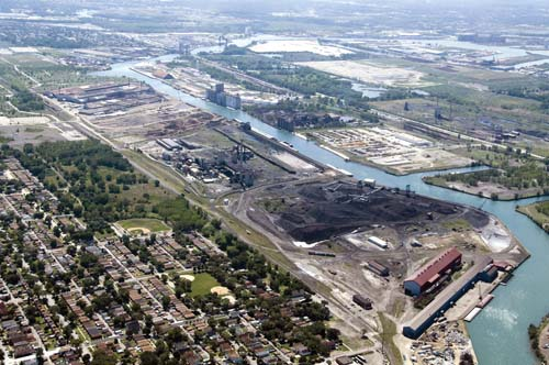 The proposed site for the ultra-clean $3 billion coal and petcoke gasification facility on the Calumet River between 111th St. and 114th St. on Chicago's southeast side.